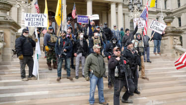 Protesters outside the Michigan State Capitol.