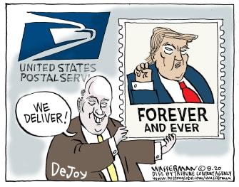 Political Cartoon U.S. Trump DeJoy USPS 2020 election