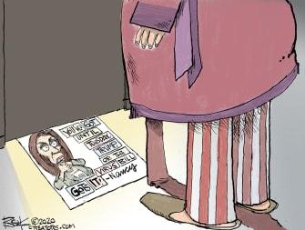 Political Cartoon U.S. Trump Pelosi COVID stimulus
