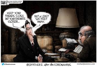 Editorial Cartoon U.S. Godfather coronavirus keep your enemies closer 6 feet away