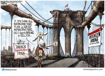 Political Cartoon U.S. democrats infrastructure