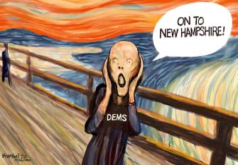 Political Cartoon U.S. Democrats Primary New Hampshire The Scream voting 2020 election race