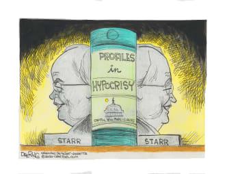 Political Cartoon U.S. Kenneth Starr Trump impeachment Clinton hypocrisy