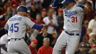 Joc Pederson after his rally-sparking homer for the LA Dodgers