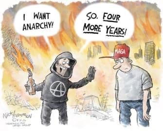 Political Cartoon U.S. Trump anarchy Portland Kenosha