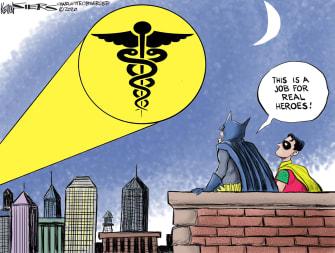 Editorial Cartoon U.S. Batman Robin Coronavirus superheroes medical staff healthcare workers