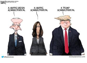 Political Cartoon U.S. Trump Harris Biden 2020