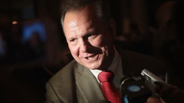 Roy Moore speaks to reporters