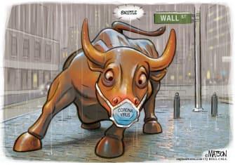 Editorial Cartoon U.S. Wall Street Bull coronavirus markets face masks