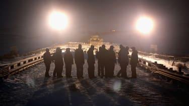 Military veterans protest the Dakota Access Pipeline.