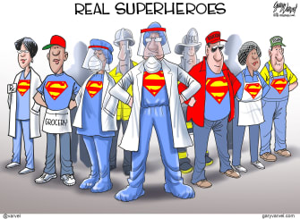 Editorial Cartoon U.S. doctors heroes grateful healthcare workers