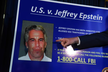 A poster with Jeffrey Epstein's face on it.