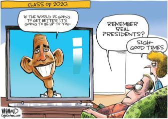 Political Cartoon U.S. Obama Trump coronavirus leadership