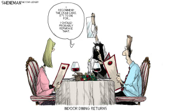 Editorial Cartoon U.S. COVID indoor dining