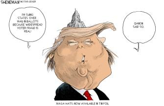 Political Cartoon U.S. Trump QAnon mail in voting