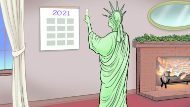 Editorial Cartoon U.S. Statue of Liberty Freedom 2021 New Years