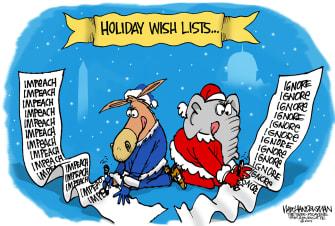 Political Cartoon U.S. Democrats Republicans Holiday Wish List Trump Impeachment