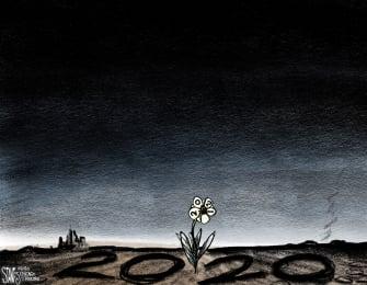 Editorial Cartoon U.S. 2020 Terrible Year 2021 Fresh Start