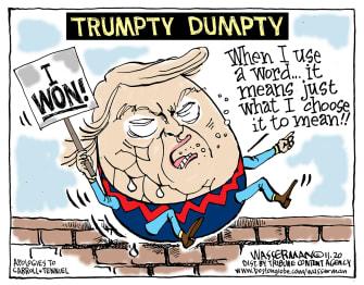 Political Cartoon U.S. Trumpty Dumpty election