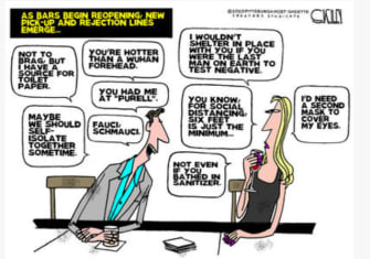 Editorial Cartoon U.S. pick up lines dating during coronavirus reopening bars Fauci masks