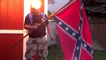 Confederate flag brandisher sets himself on fire for the ice bucket challenge