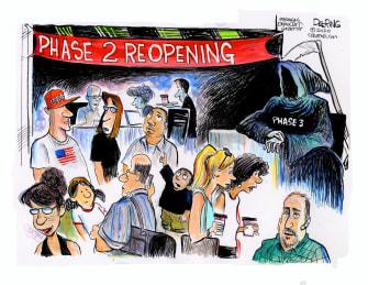 Editorial Cartoon U.S. coronavirus phase 3 grim reaper