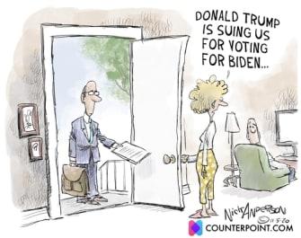 Political Cartoon U.S. Trump lawsuit