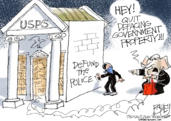 Political Cartoon U.S. Post Office USPS GOP Post Office Defund the Police