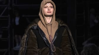 A model wears the controversial Burberry sweater with a noose.