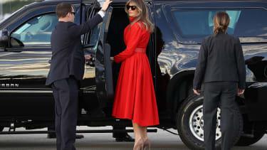 Melania Trump departs for Mar-a-Lago.