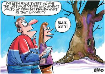Editorial Cartoon U.S. twitter social media Trump Biden