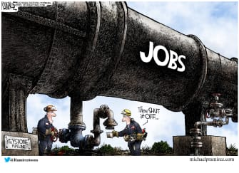 Editorial Cartoon U.S. biden keystone xl jobs pipeline