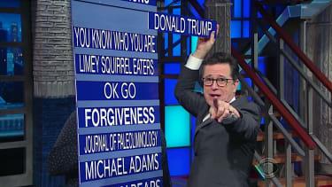"Stephen Colbert puts Donald Trump ""on notice"""