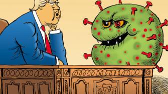 Political Cartoon U.S. Trump coronavirus open economy