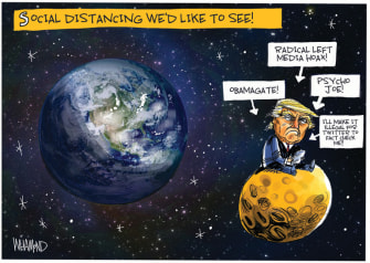 Political Cartoon U.S. Trump social distancing Twitter