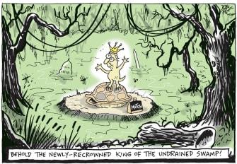 Political Cartoon U.S. McConnell senate swamp