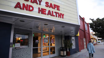 A shuttered movie theater in Los Angeles, California