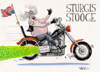 Editorial Cartoon U.S. SturgisMotorcycle Rally Coronavirus COVID-19 Super Spreader