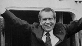 Richard Nixon leaves the White House after resigning.