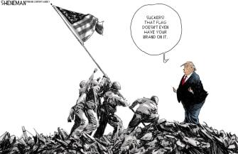 Political Cartoon U.S. Trump suckers losers Iwo Jima