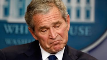 George Bush holds one of his last news conferences in January 2009.
