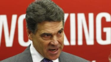 """Rick Perry suspended his presidential campaign Thursday and threw his support behind Newt Gingrich: """"Newt isn't perfect,"""" Perry said, """"but who among us is?"""""""
