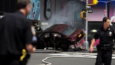 Car crash in Times Square.