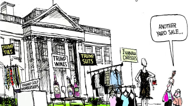 Political Cartoon U.S. Donald Trump Ivanka Trump White House yard sale