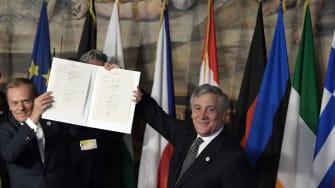EU leaders display the Rome Declaration