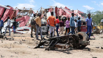 The remnants of a car that blew up in Mogadishu.