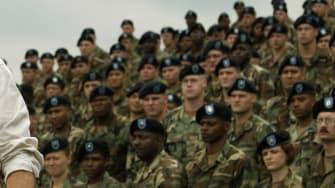George Bush speaks to soldiers in 2002.