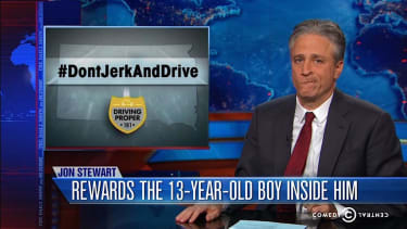 The Daily Show has a predictably good laugh at South Dakota's 'Don't Jerk and Drive' campaign