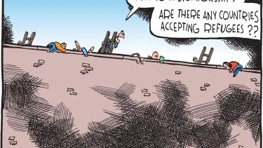 Political Cartoon U.S. American refugees wall
