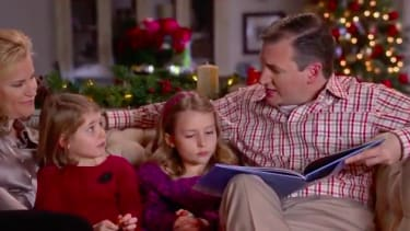 Ted Cruz reads to his daughters in a campaign ad